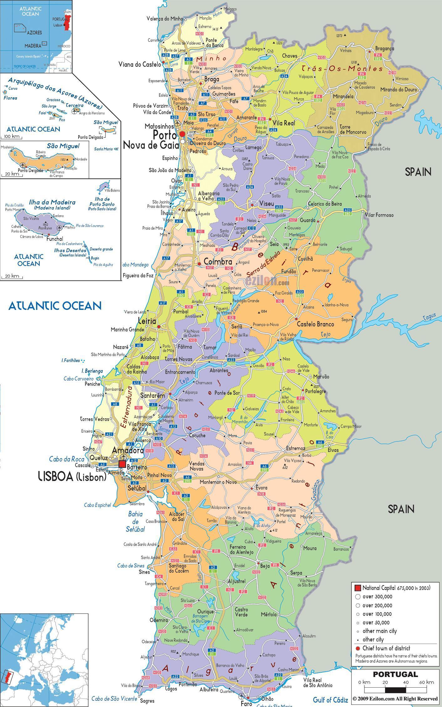 Portugal carte avec les villes - Carte du Portugal avec ...